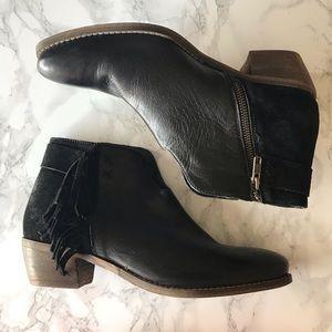 Diba True Black Leather Fringe Ankle Boots